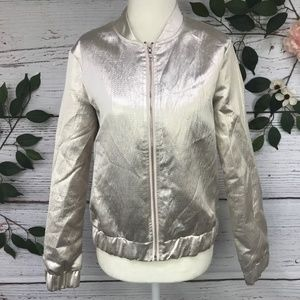 Misguided Size 4 Shiny Zip Up Crop Bomber Jacket